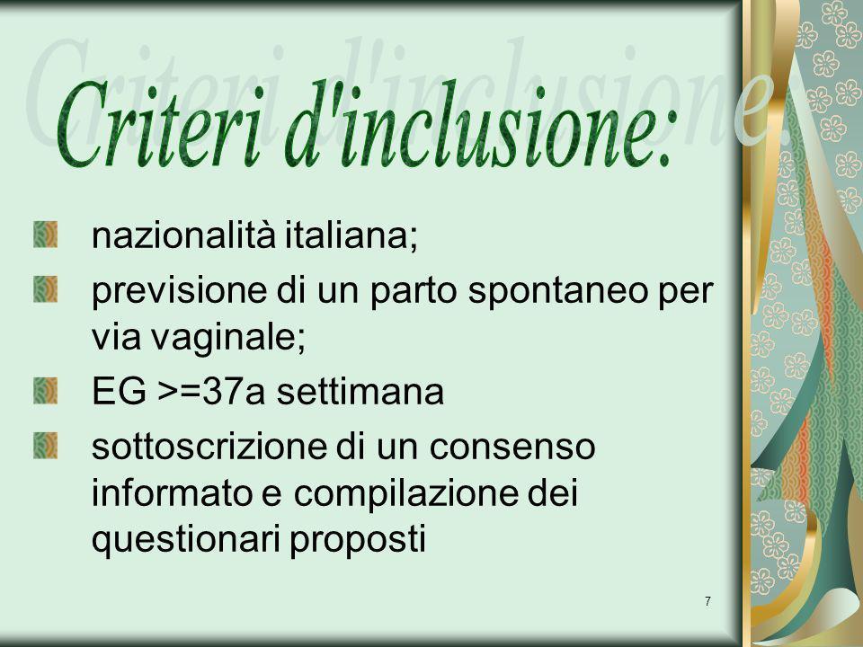 Criteri d inclusione: nazionalità italiana;