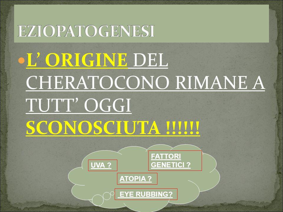 L' ORIGINE DEL CHERATOCONO RIMANE A TUTT' OGGI SCONOSCIUTA !!!!!!