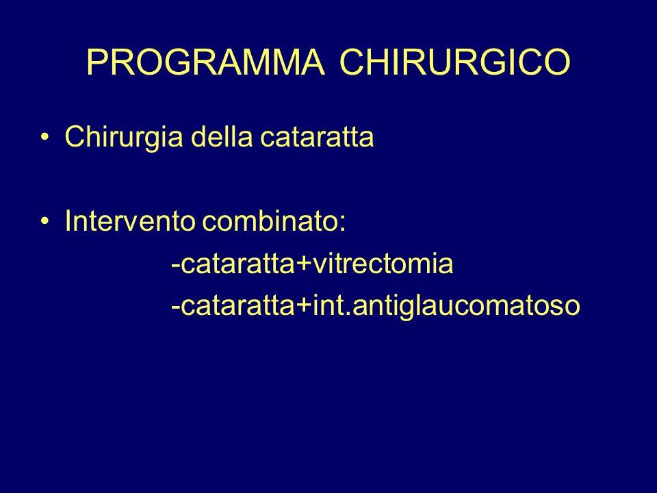 PROGRAMMA CHIRURGICO Chirurgia della cataratta Intervento combinato: