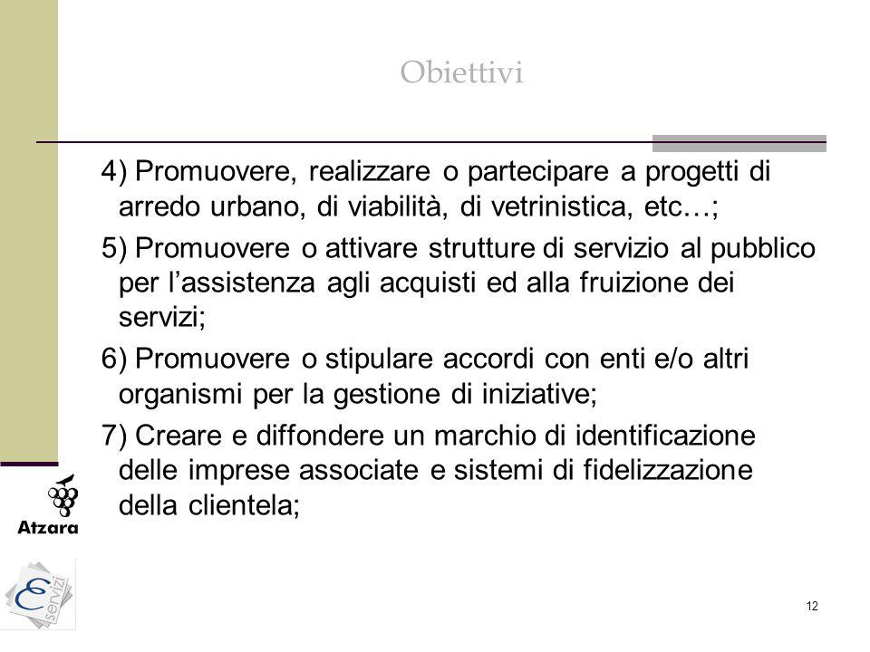 Obiettivi 4) Promuovere, realizzare o partecipare a progetti di arredo urbano, di viabilità, di vetrinistica, etc…;