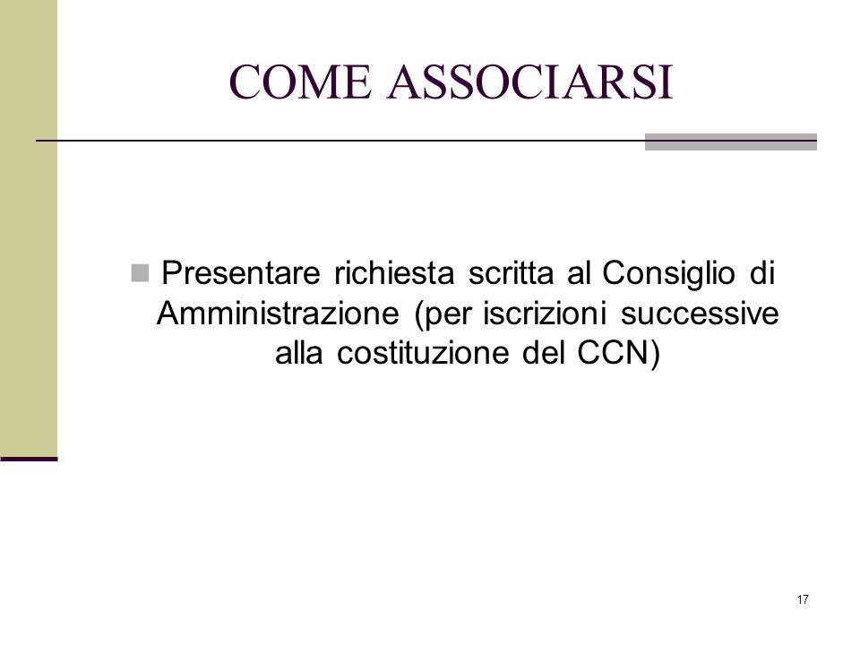 COME ASSOCIARSI Presentare richiesta scritta al Consiglio di Amministrazione (per iscrizioni successive alla costituzione del CCN)