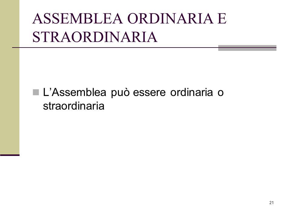 ASSEMBLEA ORDINARIA E STRAORDINARIA