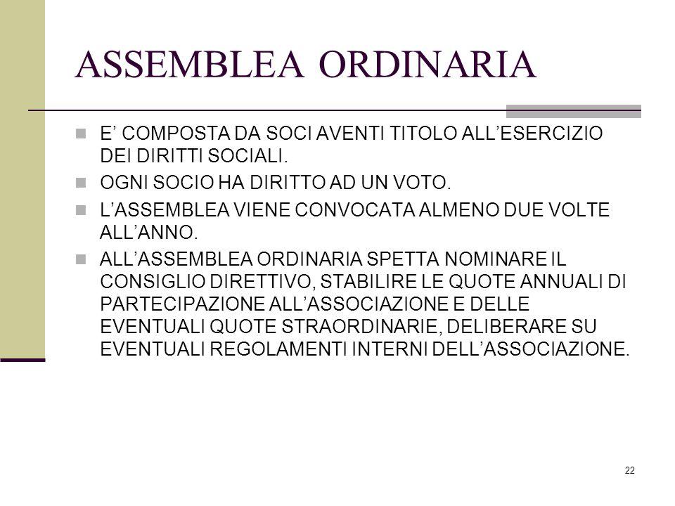 ASSEMBLEA ORDINARIA E' COMPOSTA DA SOCI AVENTI TITOLO ALL'ESERCIZIO DEI DIRITTI SOCIALI. OGNI SOCIO HA DIRITTO AD UN VOTO.