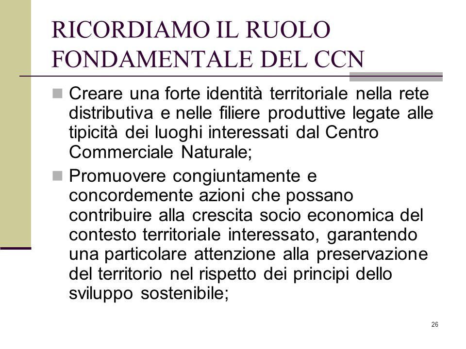 RICORDIAMO IL RUOLO FONDAMENTALE DEL CCN