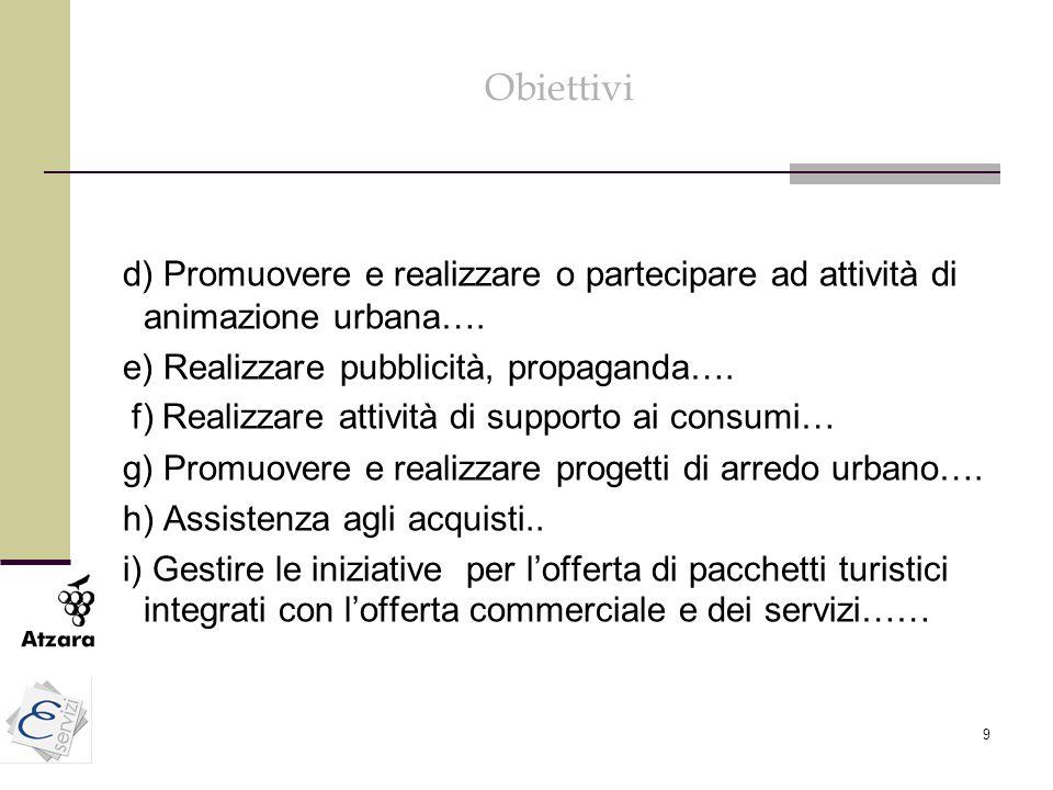 Obiettivi d) Promuovere e realizzare o partecipare ad attività di animazione urbana…. e) Realizzare pubblicità, propaganda….