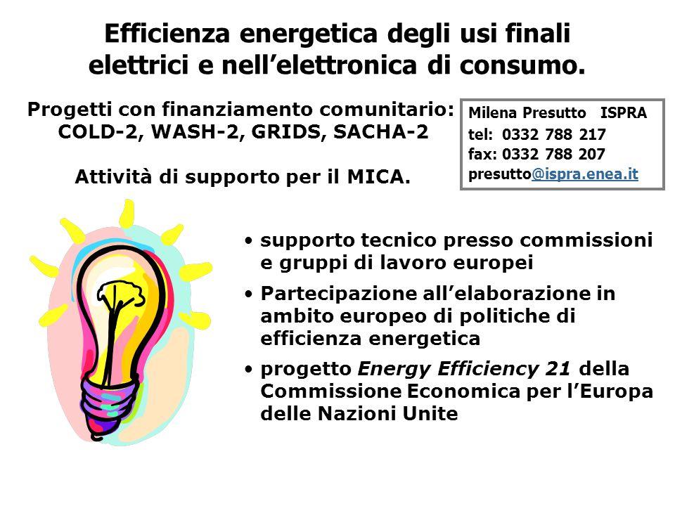 Efficienza energetica degli usi finali elettrici e nell'elettronica di consumo.