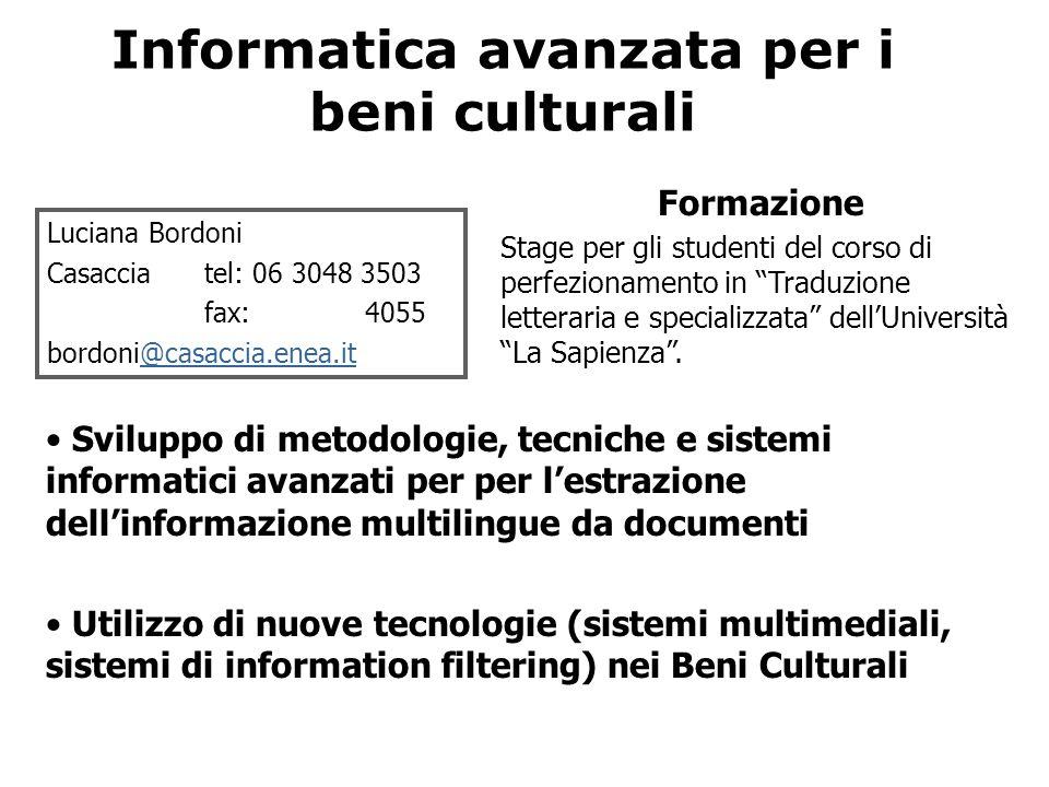 Informatica avanzata per i beni culturali