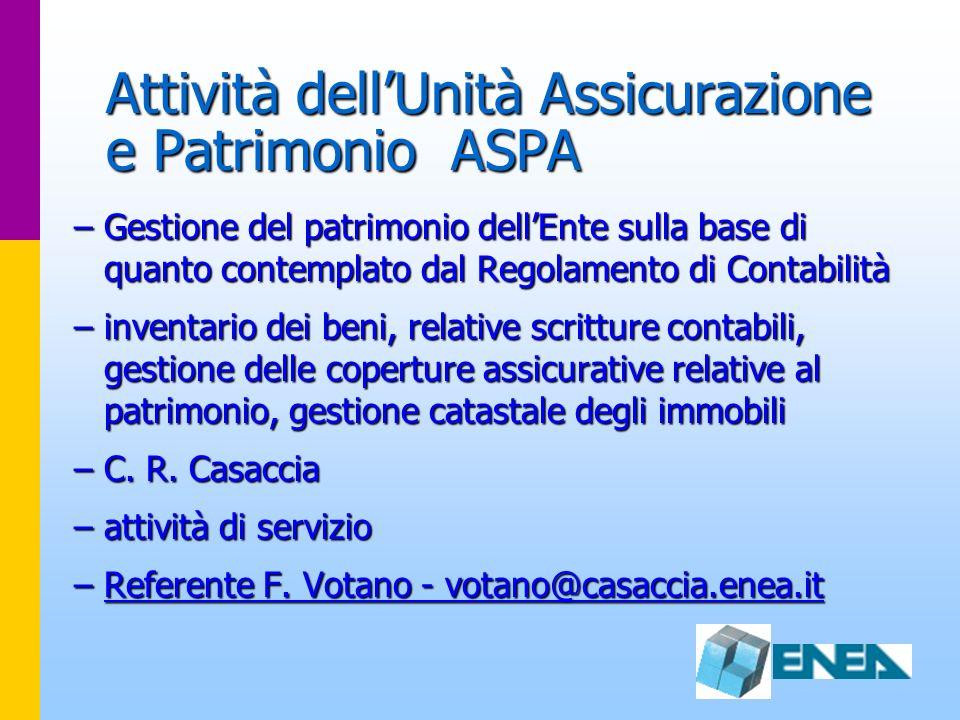 Attività dell'Unità Assicurazione e Patrimonio ASPA