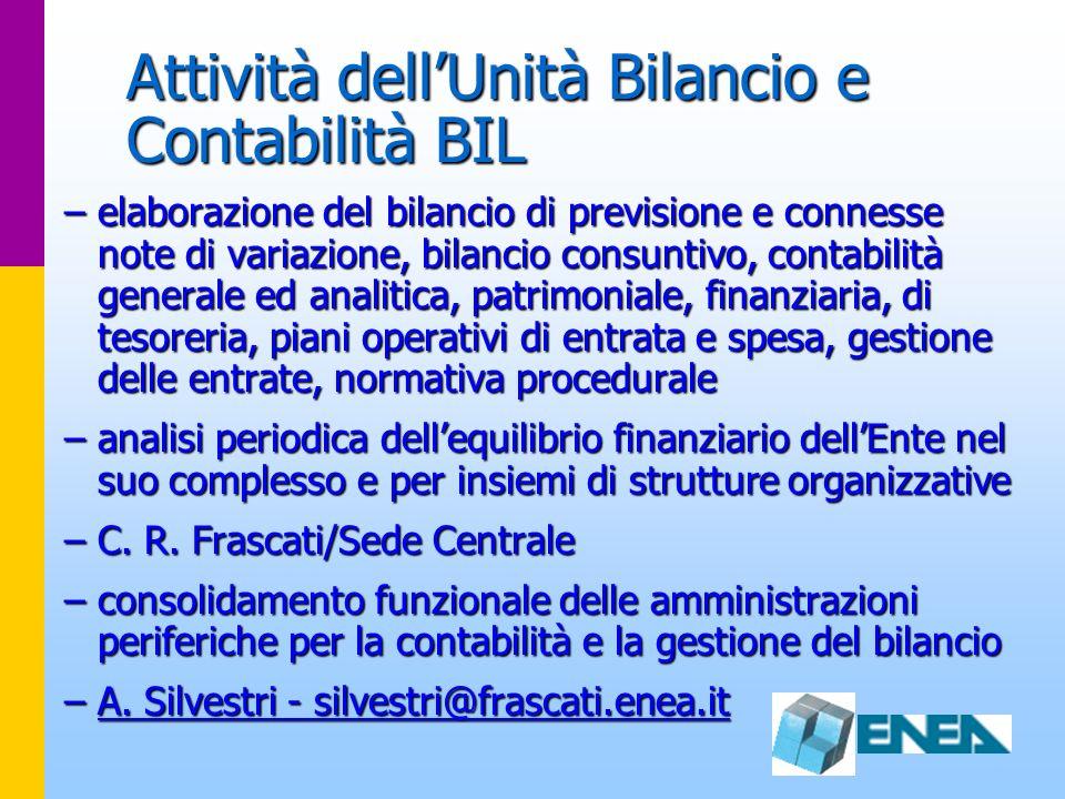 Attività dell'Unità Bilancio e Contabilità BIL