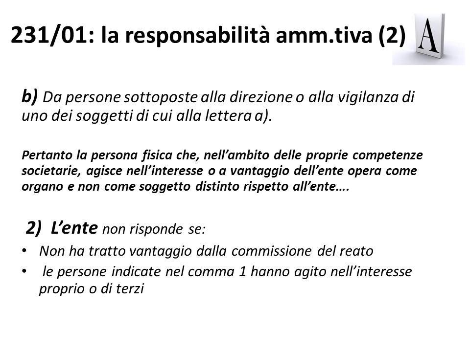 231/01: la responsabilità amm.tiva (2)
