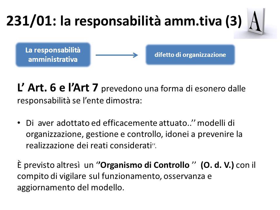 La responsabilità amministrativa difetto di organizzazione