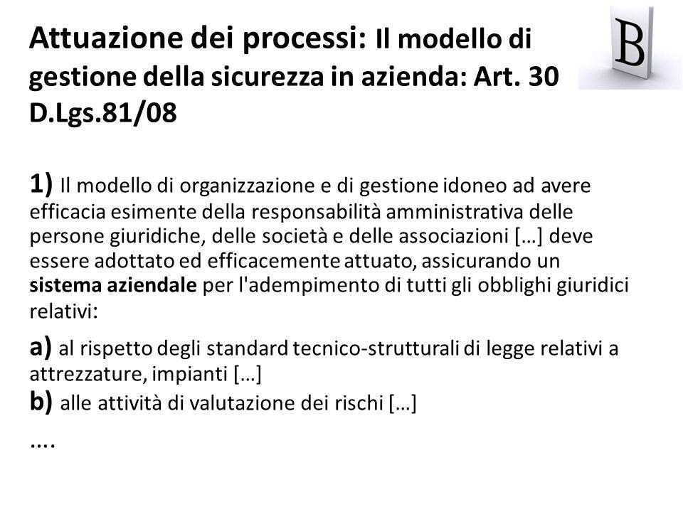 Attuazione dei processi: Il modello di gestione della sicurezza in azienda: Art. 30 D.Lgs.81/08