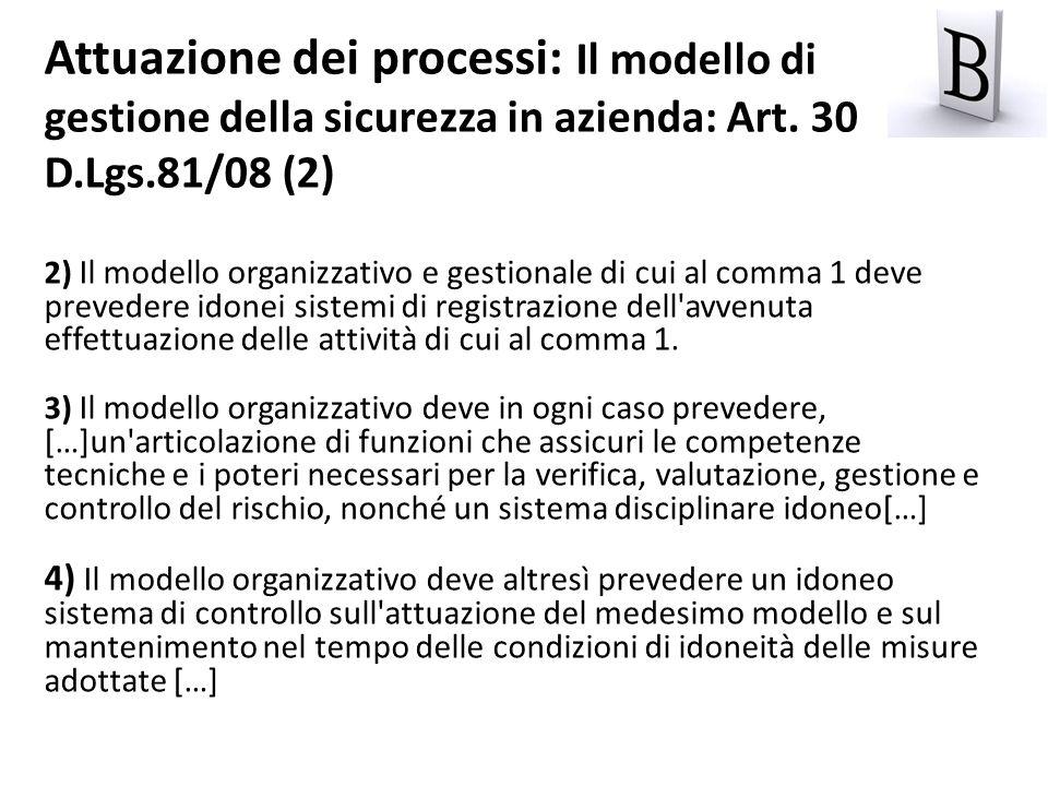 Attuazione dei processi: Il modello di gestione della sicurezza in azienda: Art. 30 D.Lgs.81/08 (2)