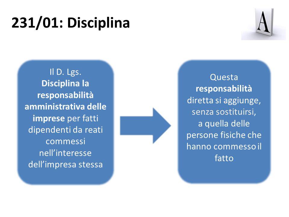 231/01: DisciplinaIl D. Lgs.
