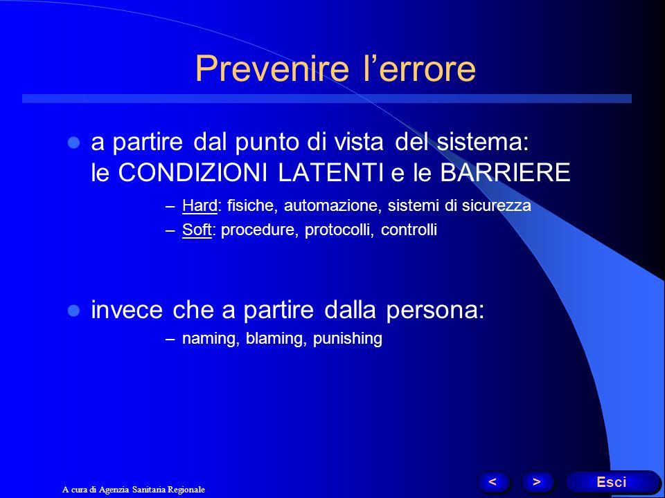 Prevenire l'errore a partire dal punto di vista del sistema: le CONDIZIONI LATENTI e le BARRIERE.
