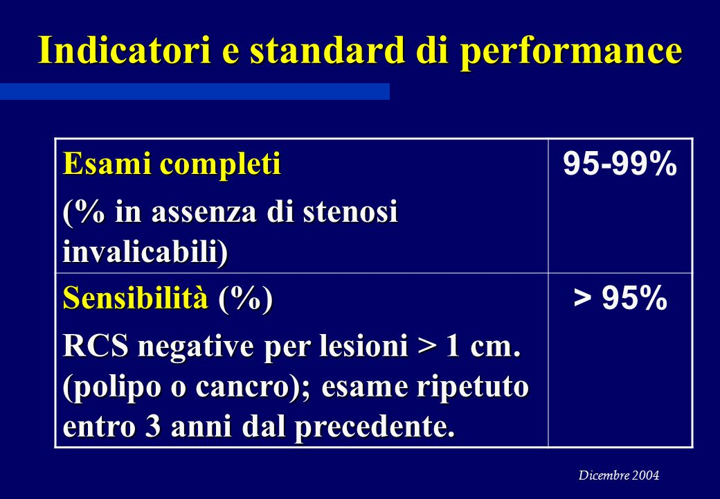 Indicatori e standard di performance