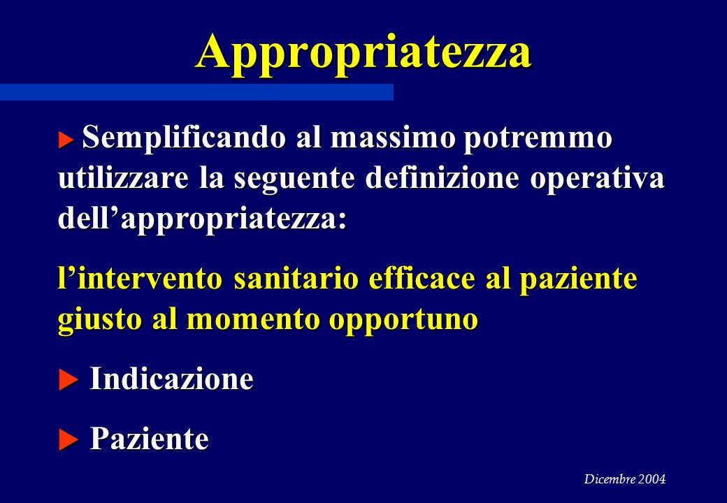 Appropriatezza Semplificando al massimo potremmo utilizzare la seguente definizione operativa dell'appropriatezza: