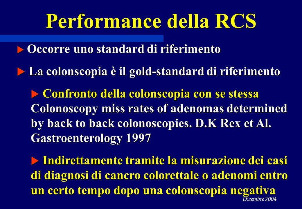 Performance della RCS La colonscopia è il gold-standard di riferimento