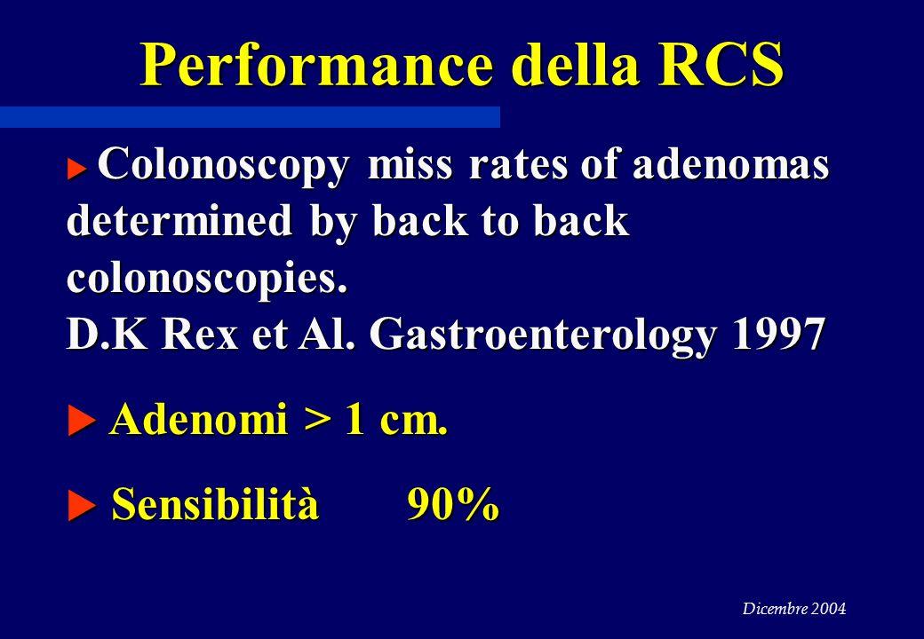 Performance della RCS Adenomi > 1 cm. Sensibilità 90%