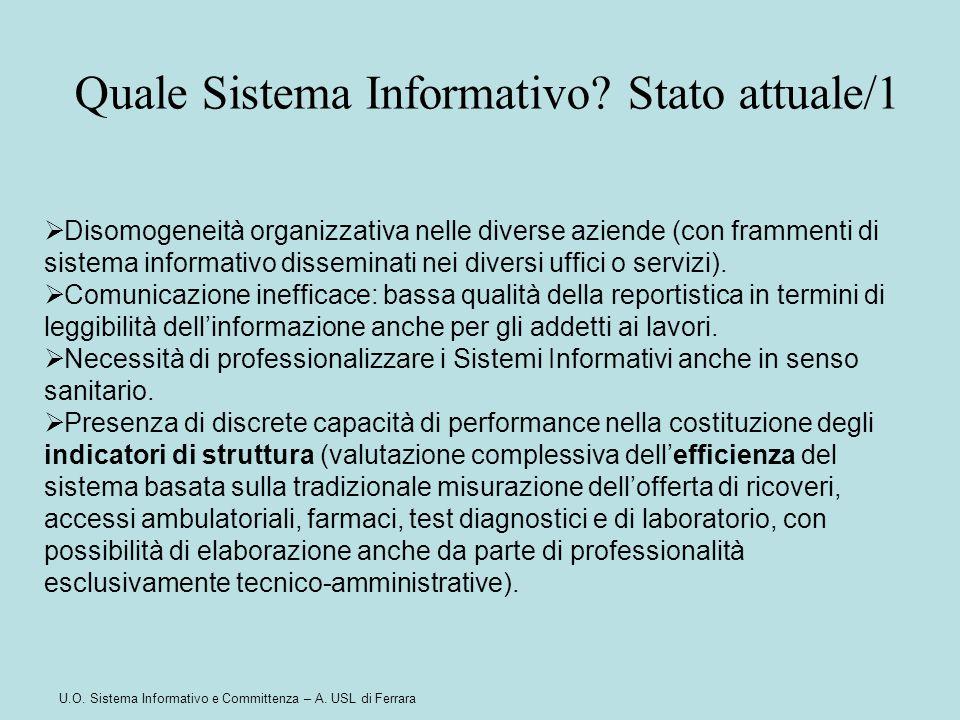 Quale Sistema Informativo Stato attuale/1