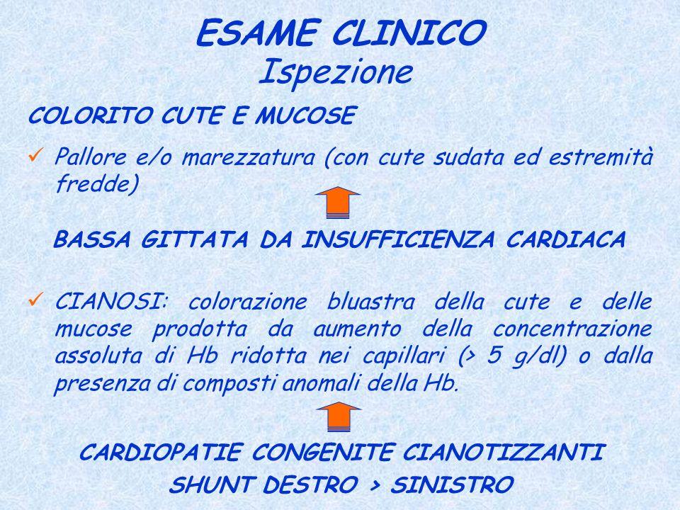 ESAME CLINICO Ispezione COLORITO CUTE E MUCOSE