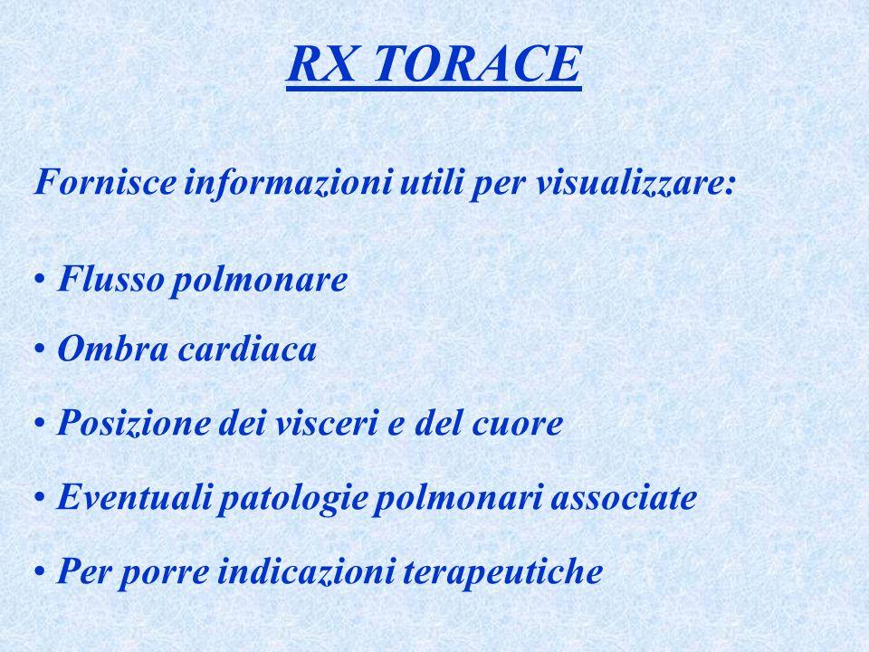 RX TORACE Fornisce informazioni utili per visualizzare: