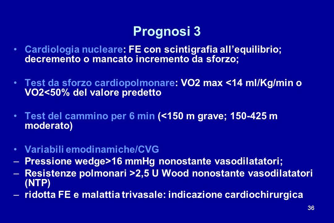 Prognosi 3 Cardiologia nucleare: FE con scintigrafia all'equilibrio; decremento o mancato incremento da sforzo;