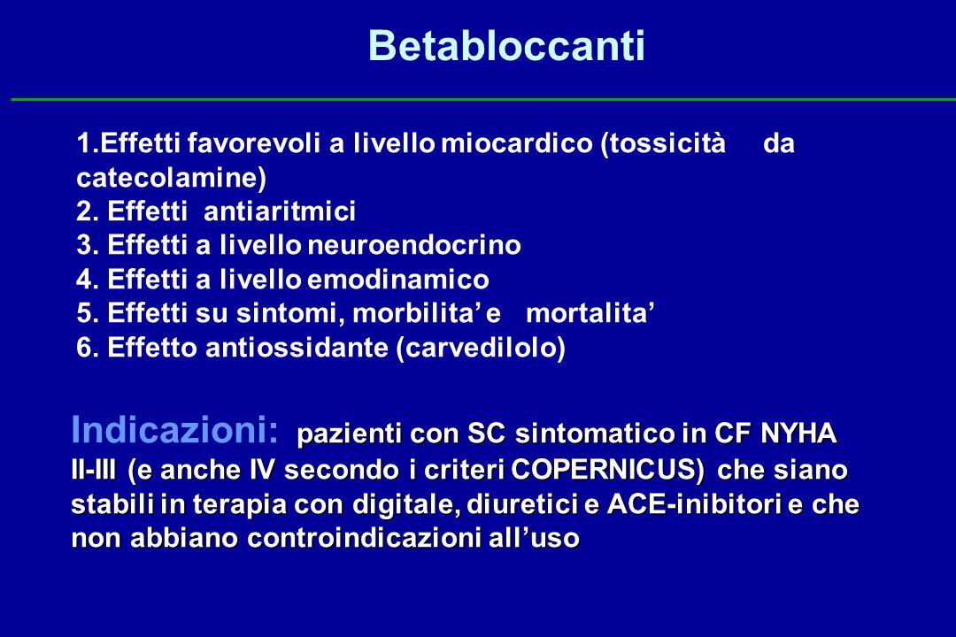 Betabloccanti 1.Effetti favorevoli a livello miocardico (tossicità da catecolamine) 2. Effetti antiaritmici.
