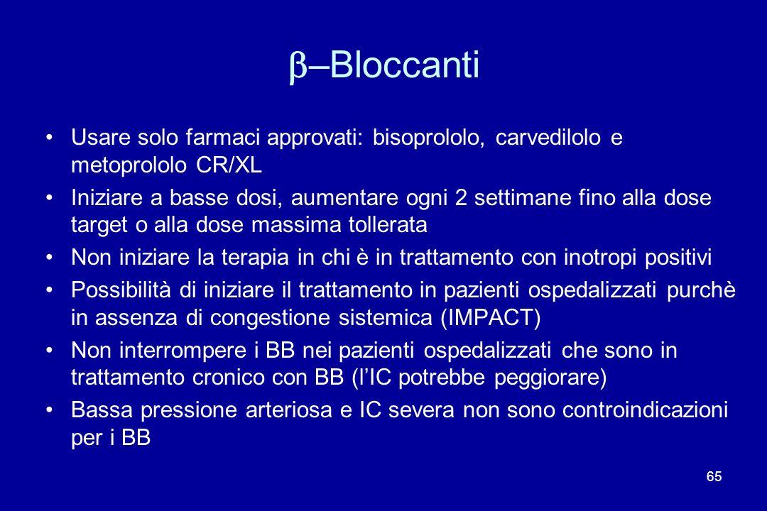 b–Bloccanti Usare solo farmaci approvati: bisoprololo, carvedilolo e metoprololo CR/XL.