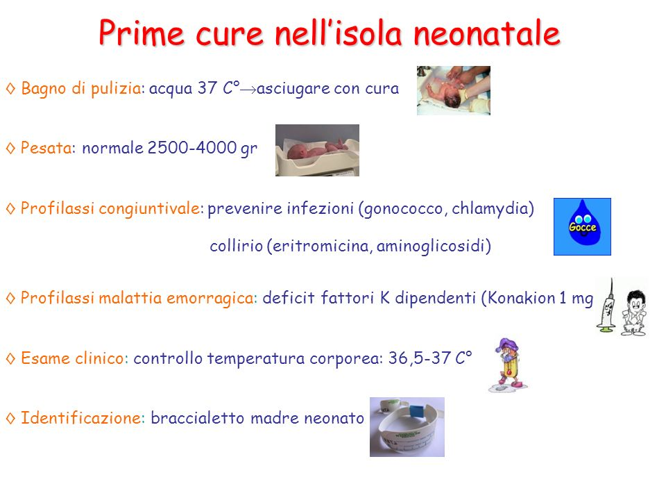 Prime cure nell'isola neonatale