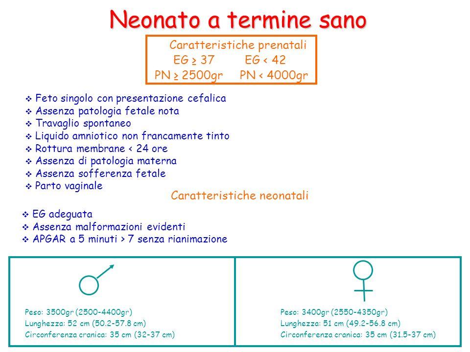 Neonato a termine sano Caratteristiche prenatali EG ≥ 37 EG < 42