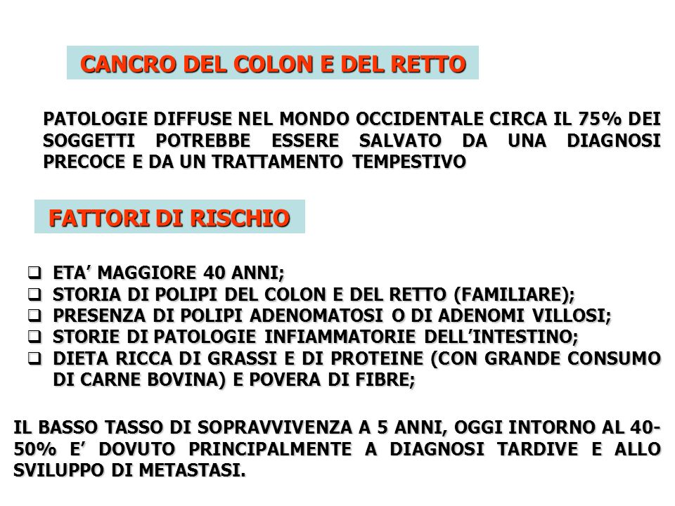 CANCRO DEL COLON E DEL RETTO