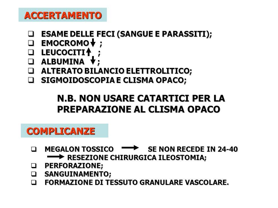 N.B. NON USARE CATARTICI PER LA PREPARAZIONE AL CLISMA OPACO