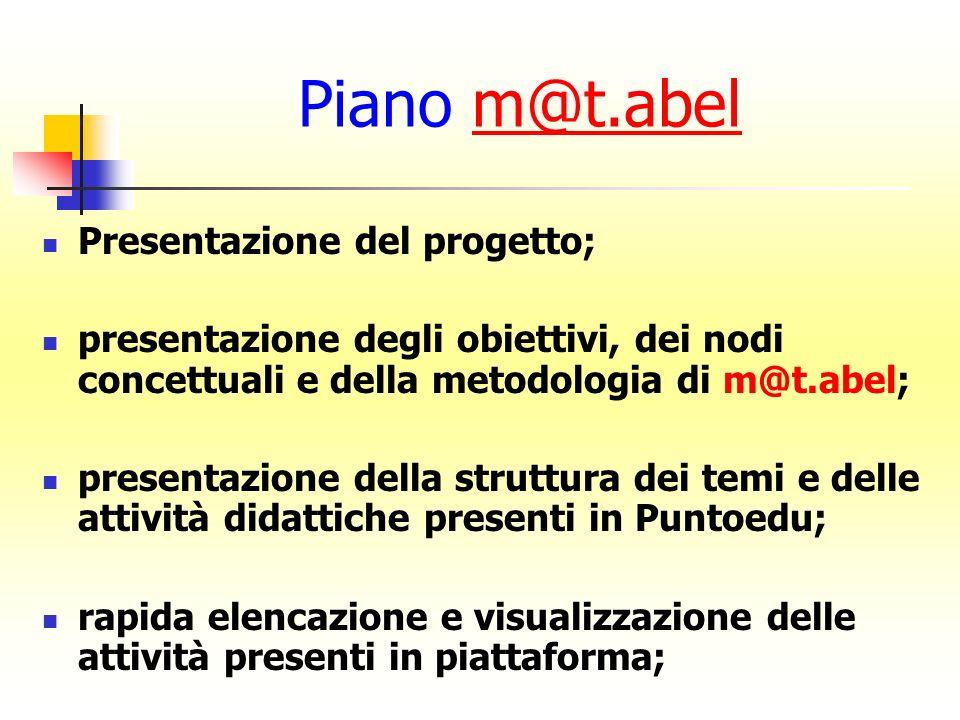 Piano m@t.abel Presentazione del progetto;