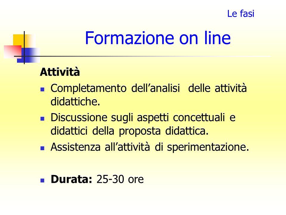 Formazione on line Attività