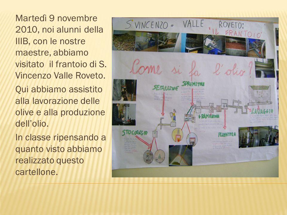 Martedì 9 novembre 2010, noi alunni della IIIB, con le nostre maestre, abbiamo visitato il frantoio di S. Vincenzo Valle Roveto.