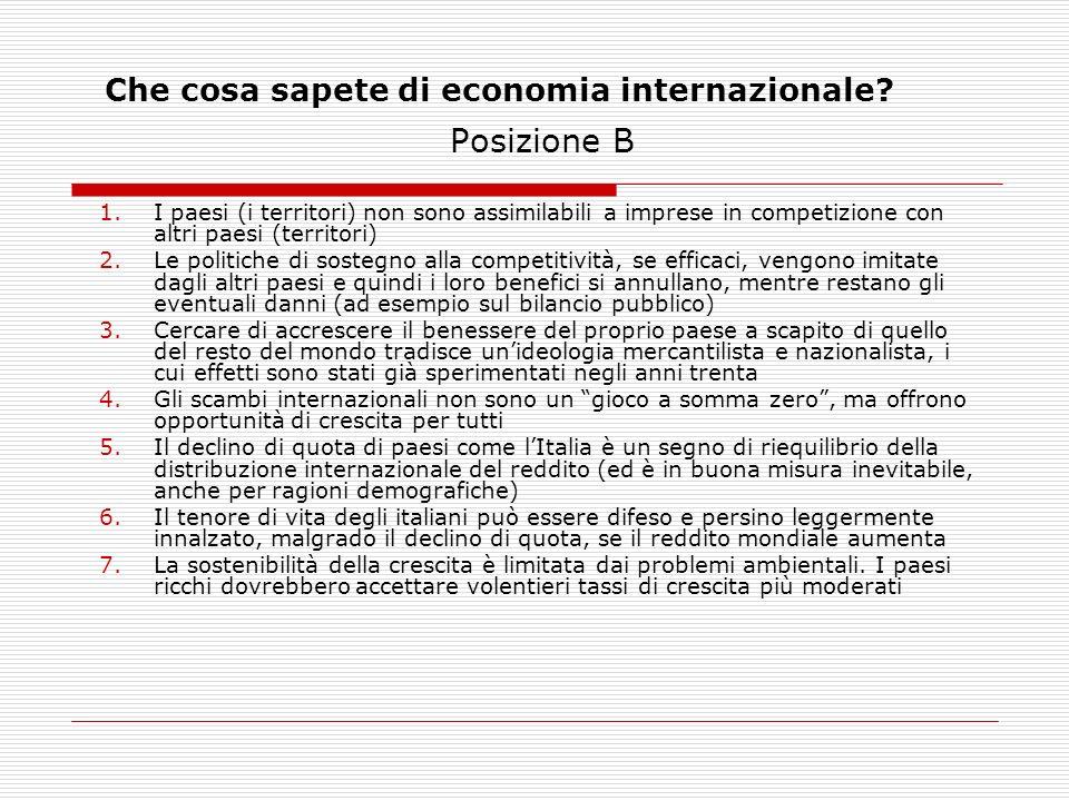 Che cosa sapete di economia internazionale