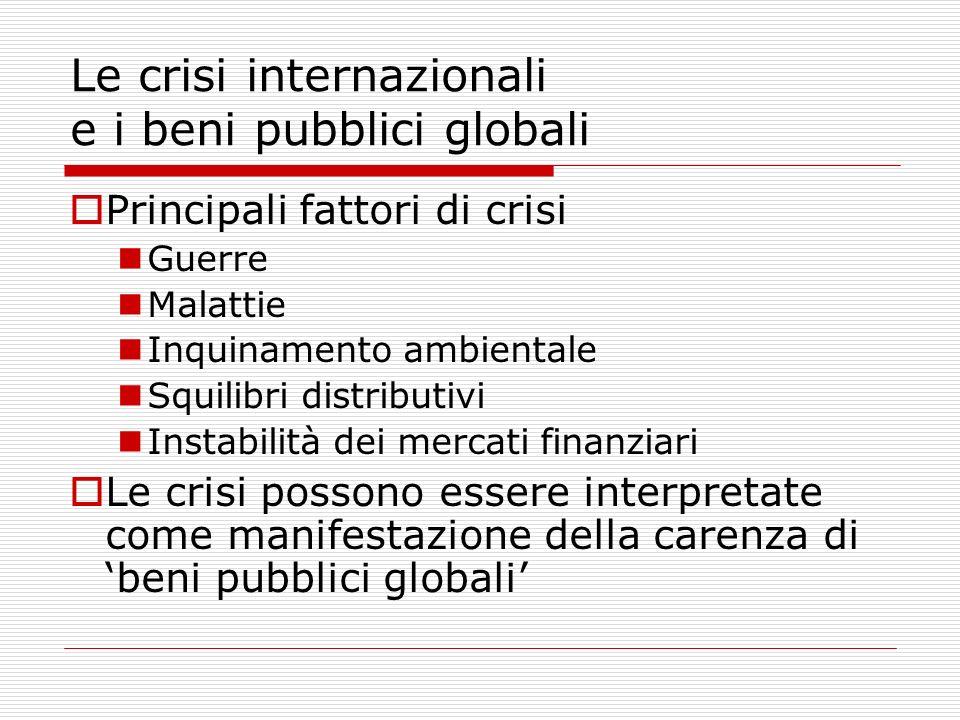 Le crisi internazionali e i beni pubblici globali