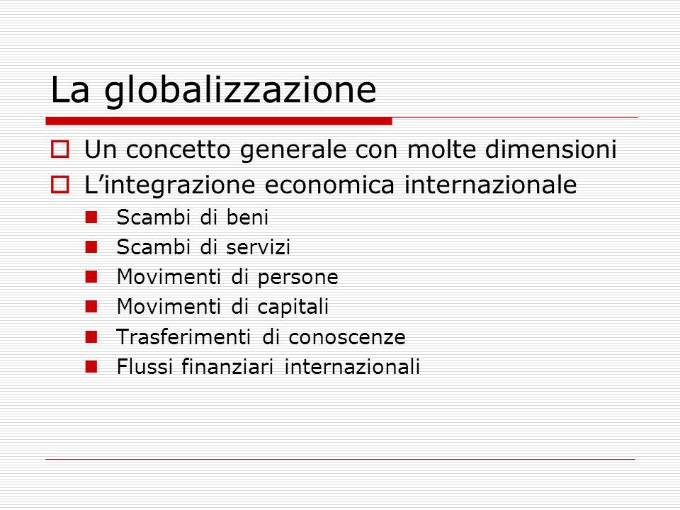 La globalizzazione Un concetto generale con molte dimensioni