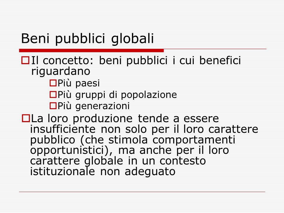 Beni pubblici globali Il concetto: beni pubblici i cui benefici riguardano. Più paesi. Più gruppi di popolazione.