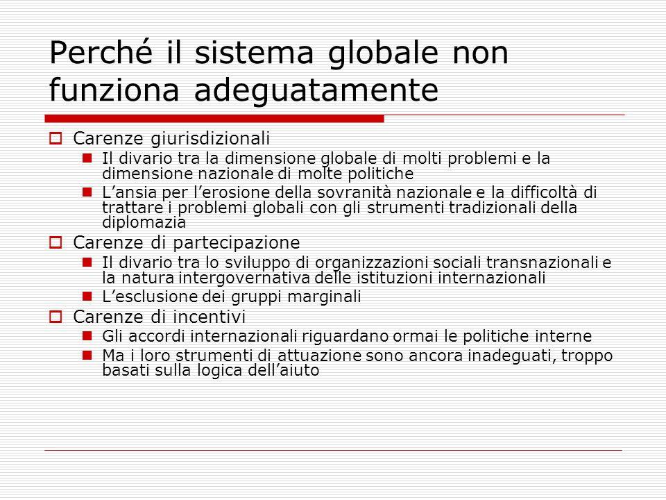 Perché il sistema globale non funziona adeguatamente