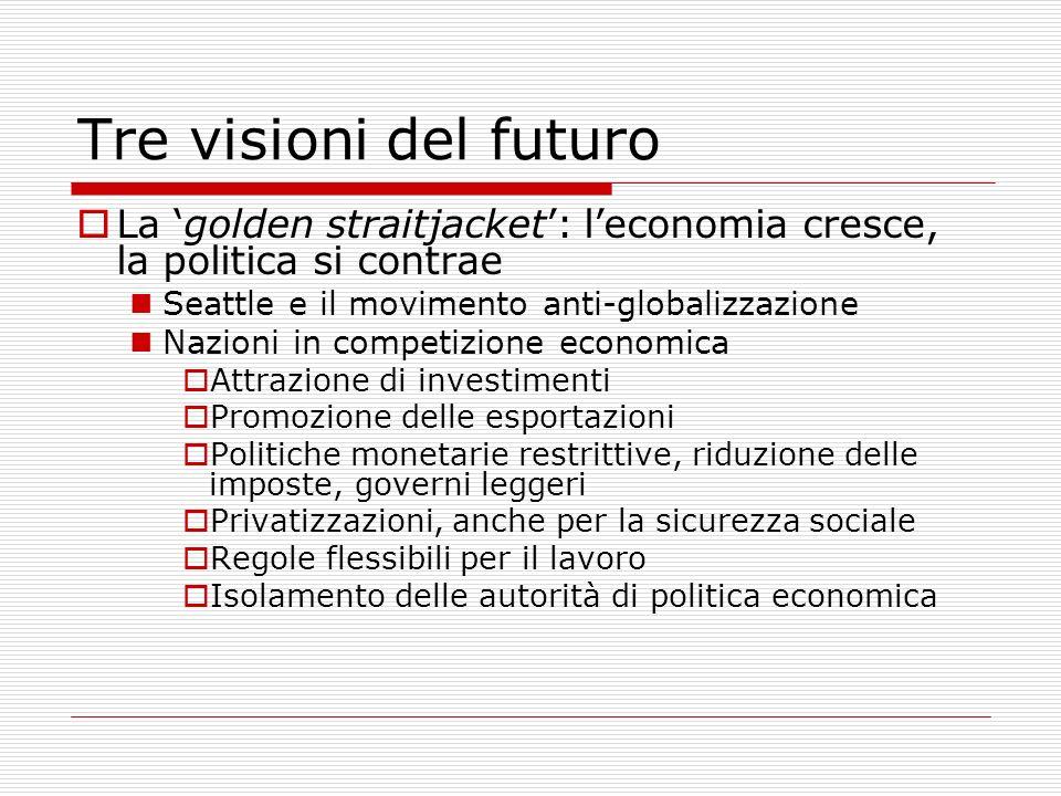 Tre visioni del futuro La 'golden straitjacket': l'economia cresce, la politica si contrae. Seattle e il movimento anti-globalizzazione.