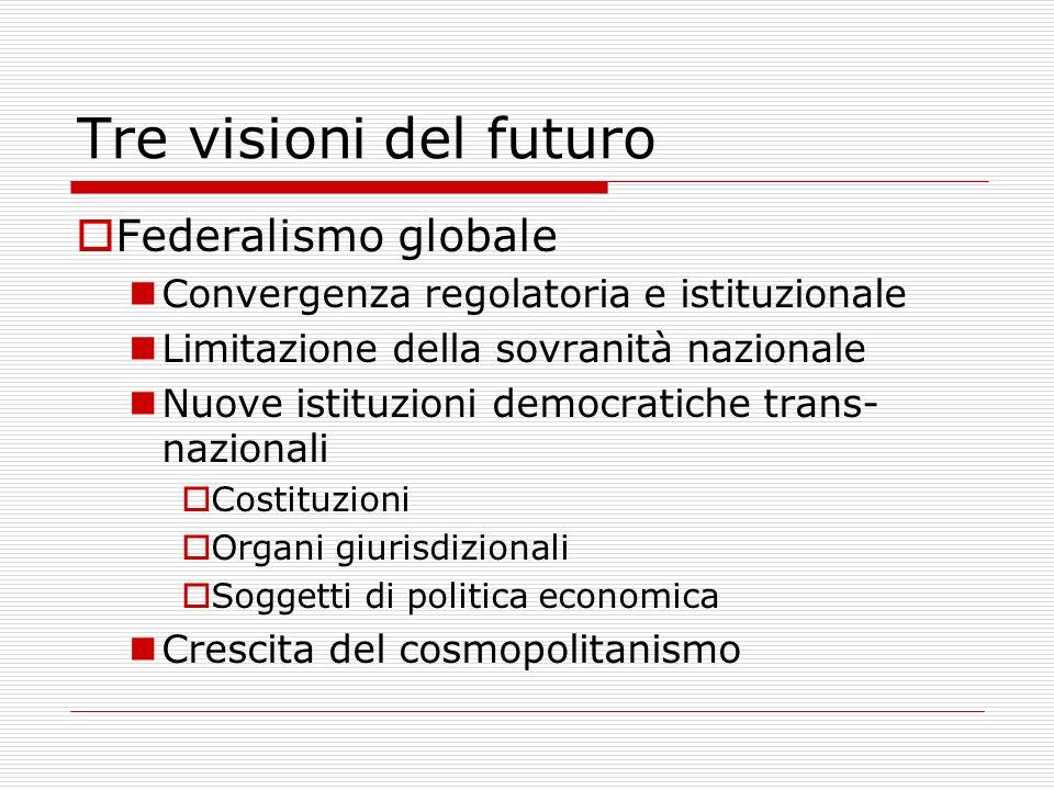 Tre visioni del futuro Federalismo globale