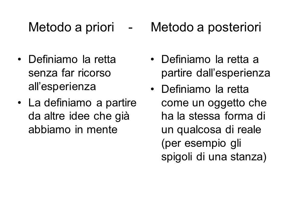 Metodo a priori - Metodo a posteriori