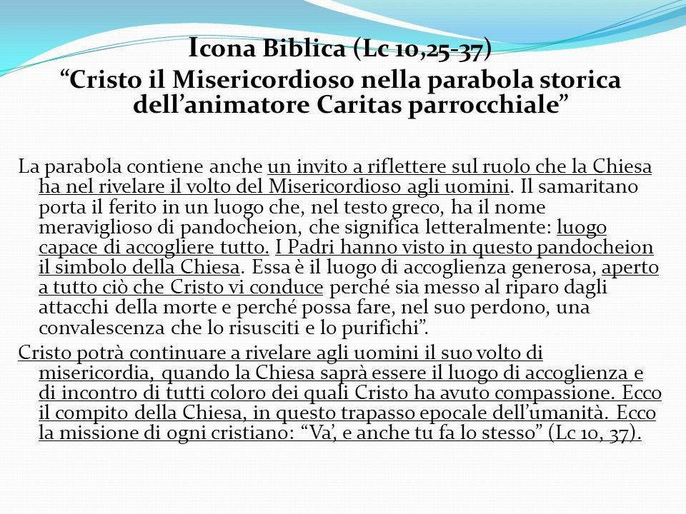 Icona Biblica (Lc 10,25-37) Cristo il Misericordioso nella parabola storica dell'animatore Caritas parrocchiale
