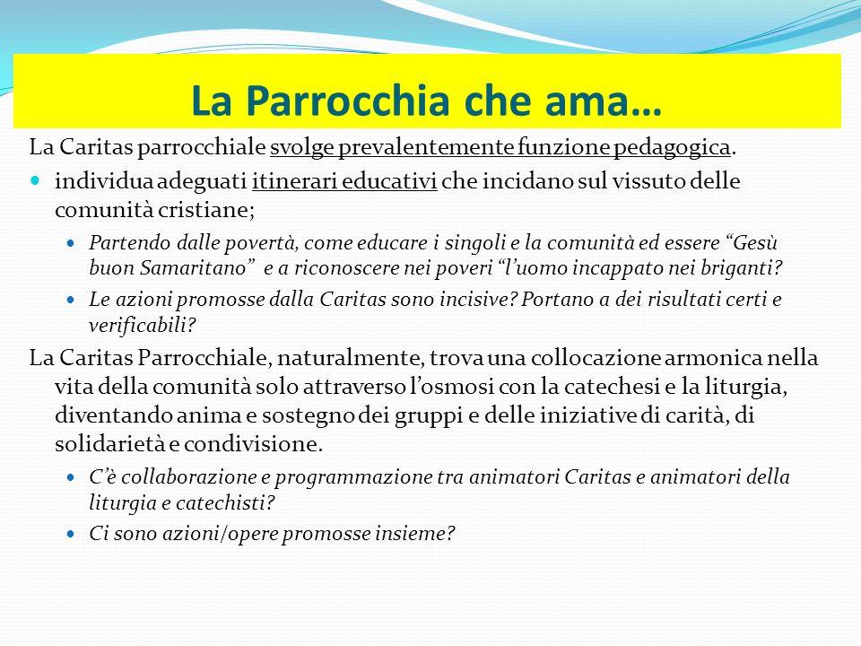 La Parrocchia che ama… La Caritas parrocchiale svolge prevalentemente funzione pedagogica.