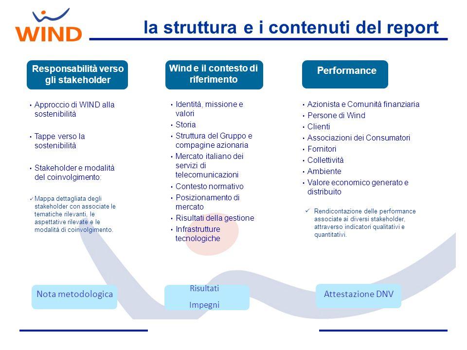 la struttura e i contenuti del report