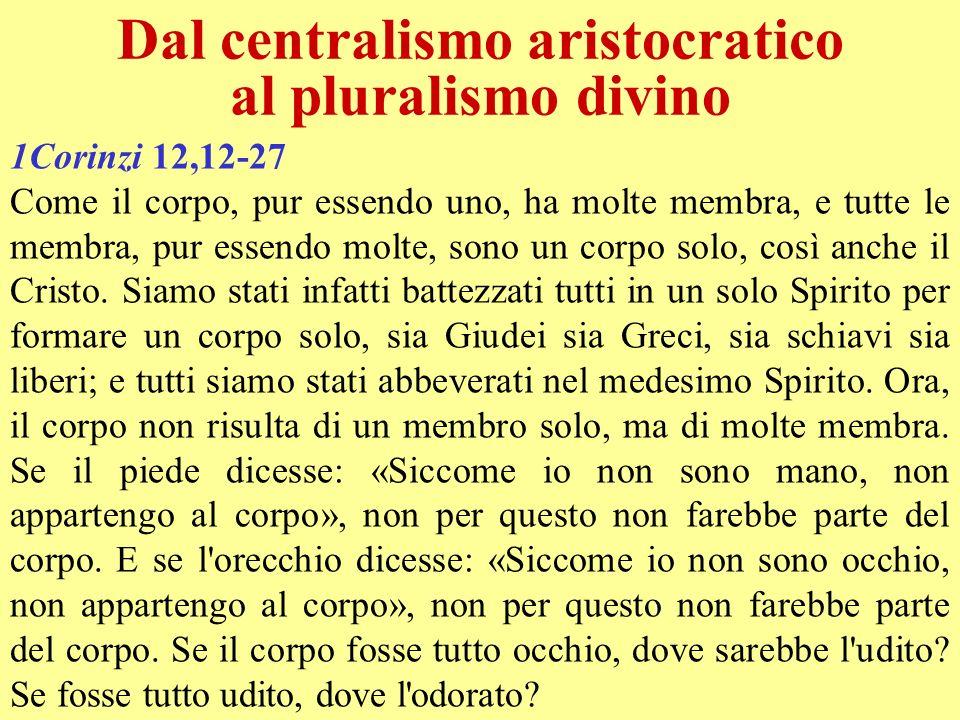 Dal centralismo aristocratico al pluralismo divino