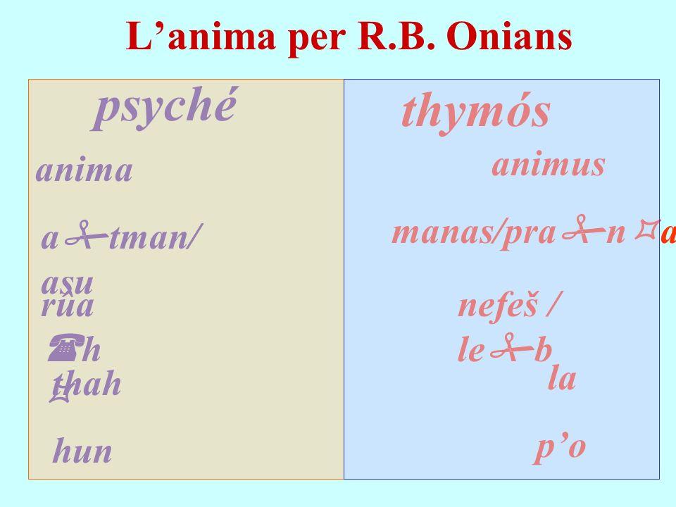 psyché thymós L'anima per R.B. Onians animus anima manas/prana