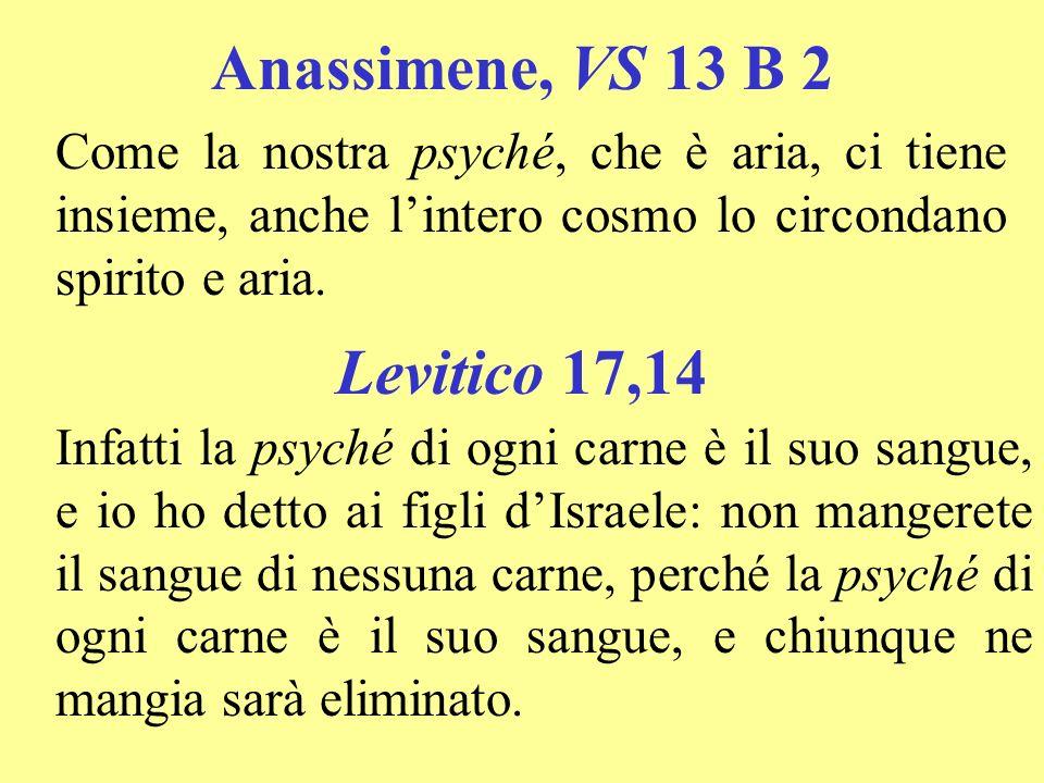 Anassimene, VS 13 B 2 Levitico 17,14